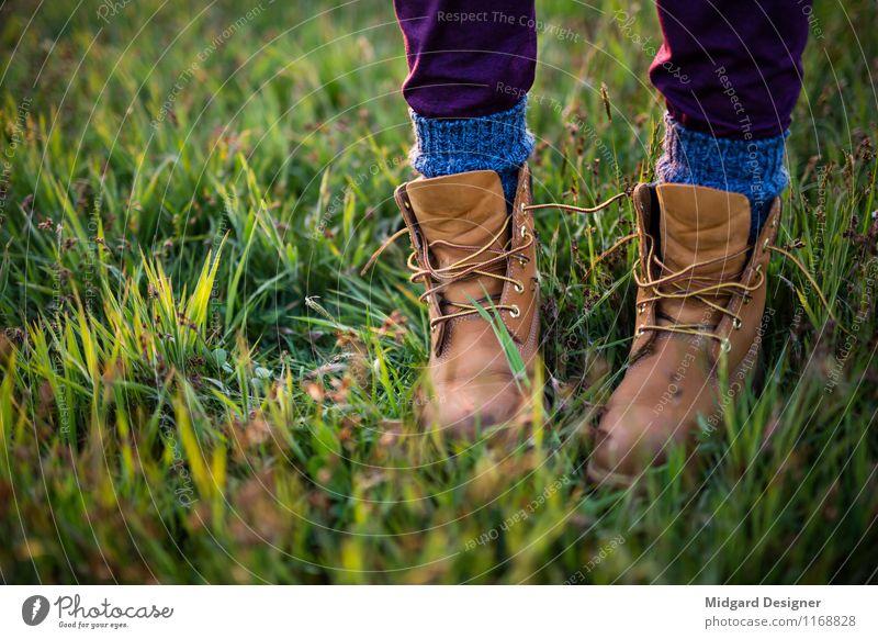 Auf der Wiese Freizeit & Hobby Ferien & Urlaub & Reisen Tourismus Sommer Fuß Gras Schuhe laufen Timberland Socken Wohlgefühl grün offene Schuhe stehen Natur