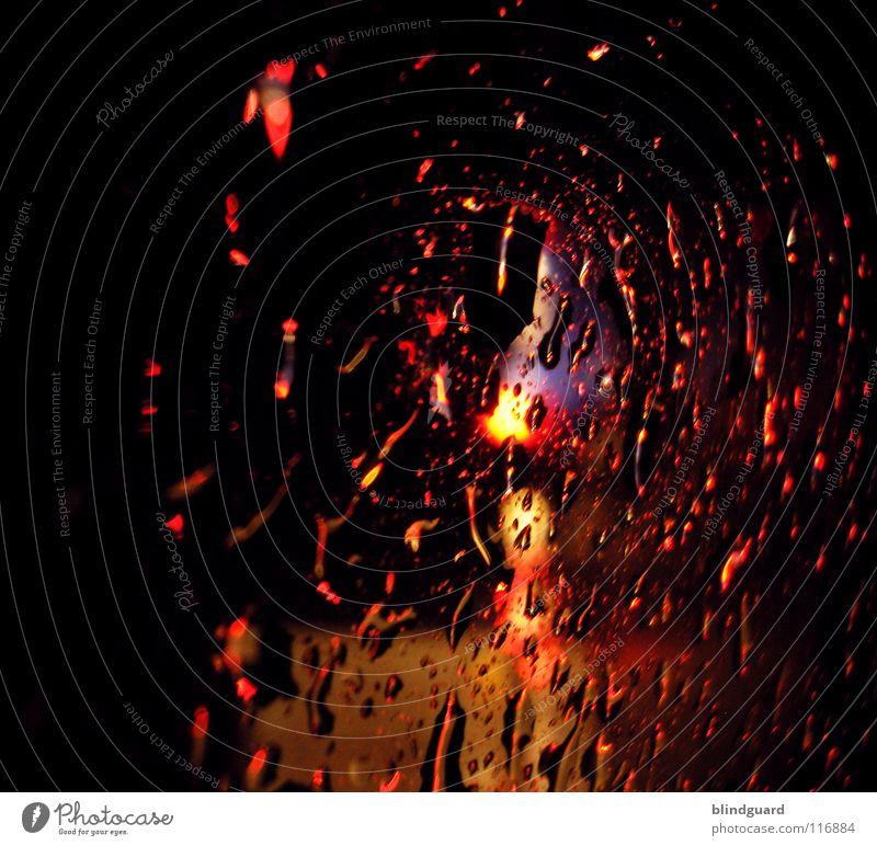 Liquid Fire Wasser Ferien & Urlaub & Reisen Straße Lampe dunkel PKW Regen hell Wassertropfen Verkehr KFZ fahren stehen Autobahn Gewitter Unwetter