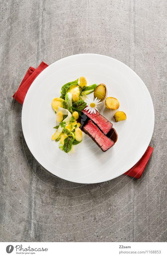Rind trifft Spargel Fleisch Gemüse Kräuter & Gewürze Abendessen Festessen Italienische Küche Teller frisch lecker saftig Appetit & Hunger genießen Reichtum 2015