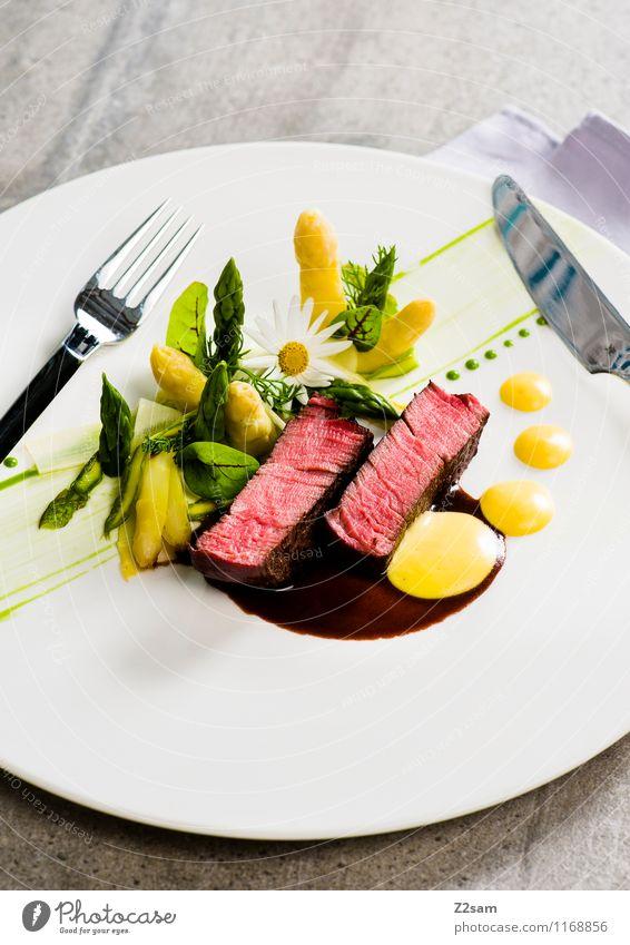 Rindvieh Fleisch Gemüse Kräuter & Gewürze Spargel Rindfleisch Rinderfilet Hollondaise Mittagessen Abendessen Italienische Küche Reichtum elegant ästhetisch