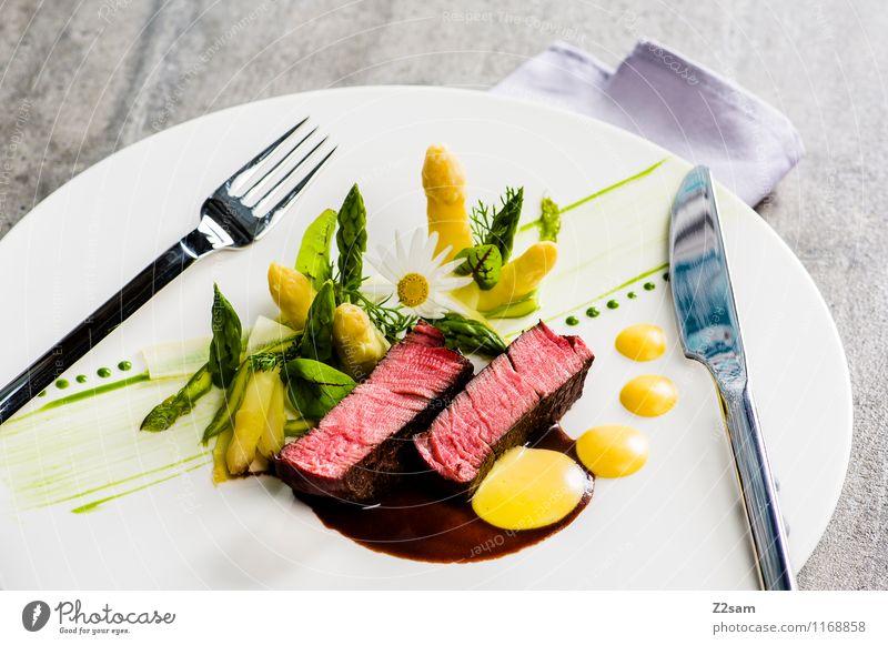 Rind mit Spargel Lebensmittel Fleisch Frucht Kräuter & Gewürze Rinderfilet Saucen Sauce hollondaise Hollondaise Kartoffeln Ernährung Abendessen