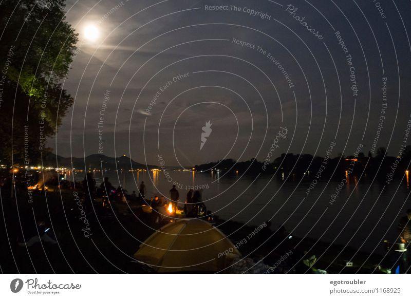 Mondlicht Jahrmarkt Landschaft Wasser Nachthimmel Vollmond Frühling Berge u. Gebirge Siebengebirge Flussufer Rhein Bonn Deutschland bevölkert Erholung