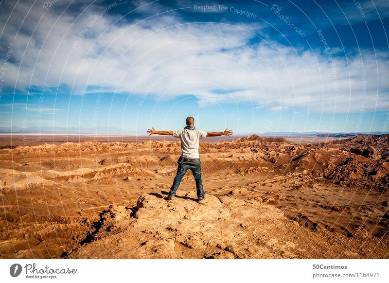 Freiheit Mensch Ferien & Urlaub & Reisen Jugendliche Mann Sommer Landschaft Junger Mann Wolken 18-30 Jahre Ferne Erwachsene Berge u. Gebirge Freizeit & Hobby