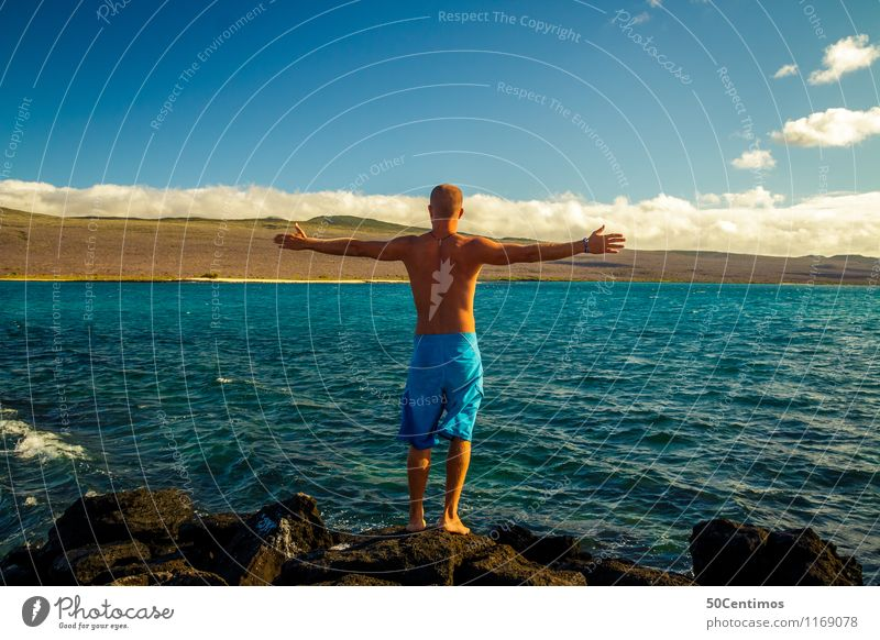 Wanderlust - Sommer, Sonne und Meer Mensch Ferien & Urlaub & Reisen Jugendliche Mann Sommer Sonne Meer Landschaft Junger Mann 18-30 Jahre Ferne Strand Erwachsene Küste Gesundheit Freiheit