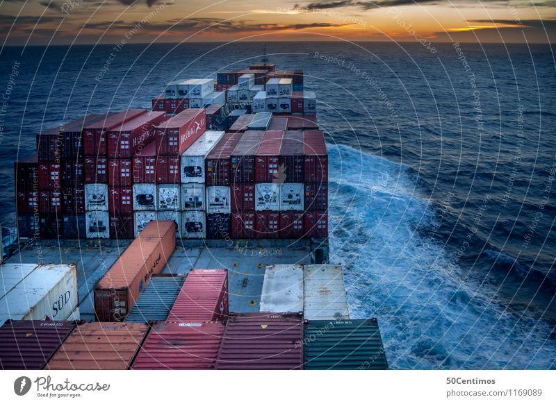 Frachtschiff auf See Ferien & Urlaub & Reisen Meer ruhig Bewegung Arbeit & Erwerbstätigkeit Schönes Wetter Abenteuer Güterverkehr & Logistik fahren Arbeitsplatz