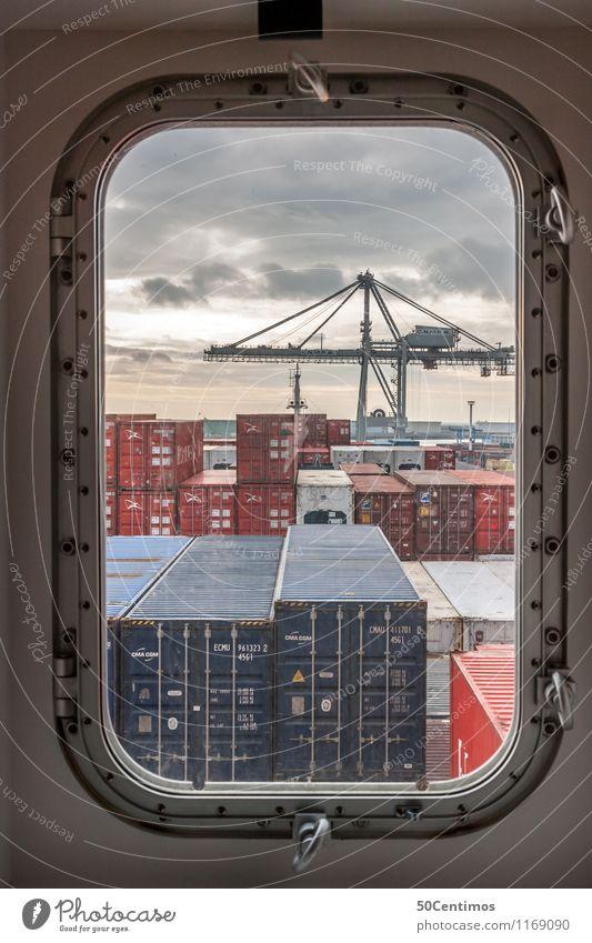 Im Hafen Hafenkran Transportnetz Sonnenaufgang Sonnenuntergang Schönes Wetter Schifffahrt Containerschiff Fortschritt Zeit Frachter laden Farbfoto Außenaufnahme