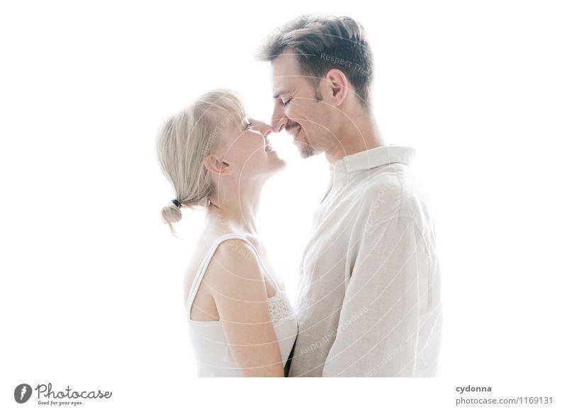 Anstubsen schön Gesundheit harmonisch Erholung Mensch Junge Frau Jugendliche Junger Mann Paar Partner Leben 2 18-30 Jahre Erwachsene Hemd Partnerschaft Freude