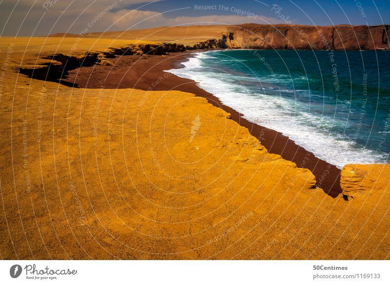 the red beach in Paracas, Peru Ferien & Urlaub & Reisen Tourismus Ausflug Abenteuer Ferne Freiheit Sightseeing Expedition Sommer Sommerurlaub Strand Meer Insel