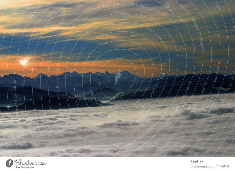 *seufz* II Sonne blau Winter Wolken kalt Schnee Berge u. Gebirge Nebel verrückt Aussicht Schweiz Alpen Sehnsucht Fernweh Tal bezaubernd