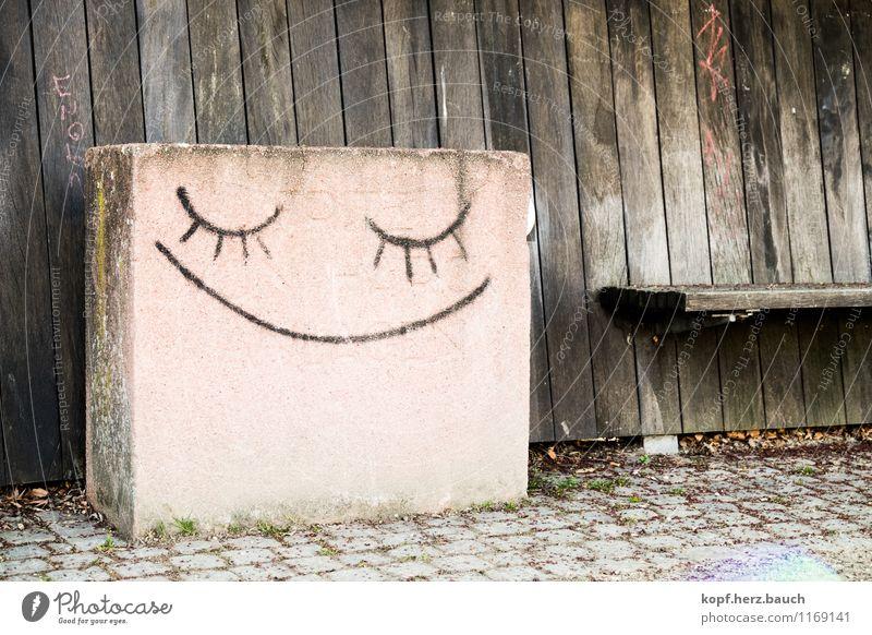 Die Leichtigkeit des Steins Stadt Erholung ruhig Leben Graffiti Gefühle Glück Stein träumen Zufriedenheit Lächeln genießen Lebensfreude einfach Zeichen schlafen