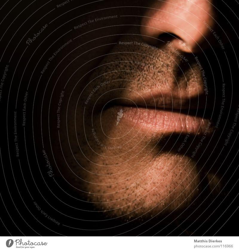 Face Mann Farbe schwarz Gesicht dunkel Gefühle Stimmung Mund maskulin Haut Nase trist Lippen Bart anonym Adjektive