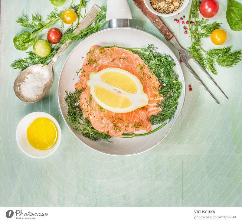 Lachsfilet braten Lebensmittel Fisch Kräuter & Gewürze Öl Ernährung Mittagessen Abendessen Festessen Bioprodukte Vegetarische Ernährung Diät Schalen & Schüsseln