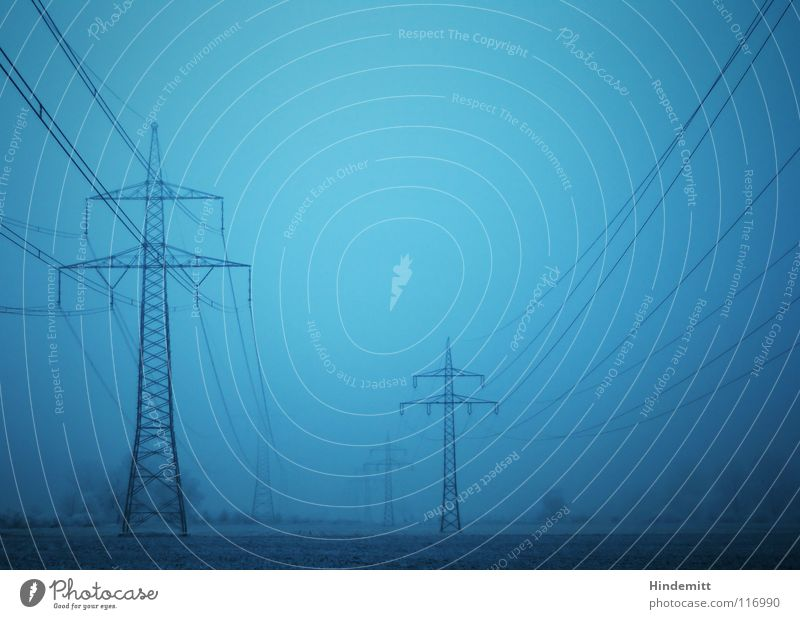 #50 | Brüder Strommast Elektrizität Nebel Baum Sträucher dunkel Feld Raureif Winter Herbst schwarz Hochspannungsleitung Energiekrise schwer Charakter Industrie