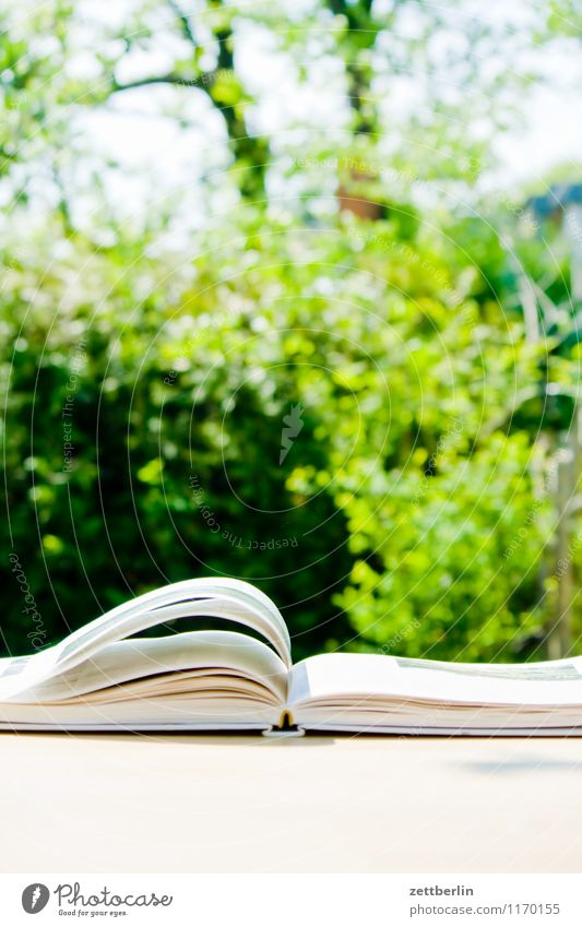 Buch Berlin blättern Berufsschule Kochbuch Frühling Garten klein Schrebergarten Printmedien lesen Lesestoff Literatur Papier Tisch Blatt blätternd Wind