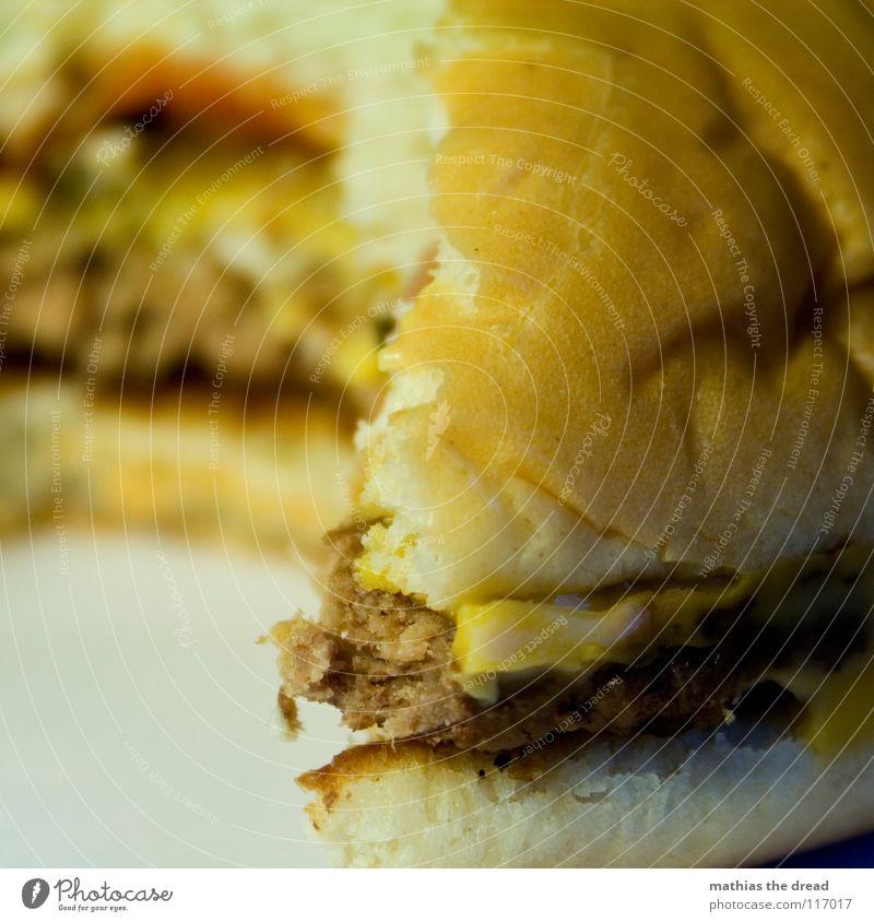 Heut Gibts Burger Jungs! 3 alt gelb kalt Ernährung Lebensmittel gefährlich Zähne USA verfallen trocken Gastronomie Kuh Brot Karton Fett Fleisch