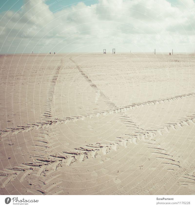 Sandkiste Himmel Natur Ferien & Urlaub & Reisen blau Sommer weiß Sonne Erholung Meer ruhig Wolken Strand Umwelt gelb natürlich Linie