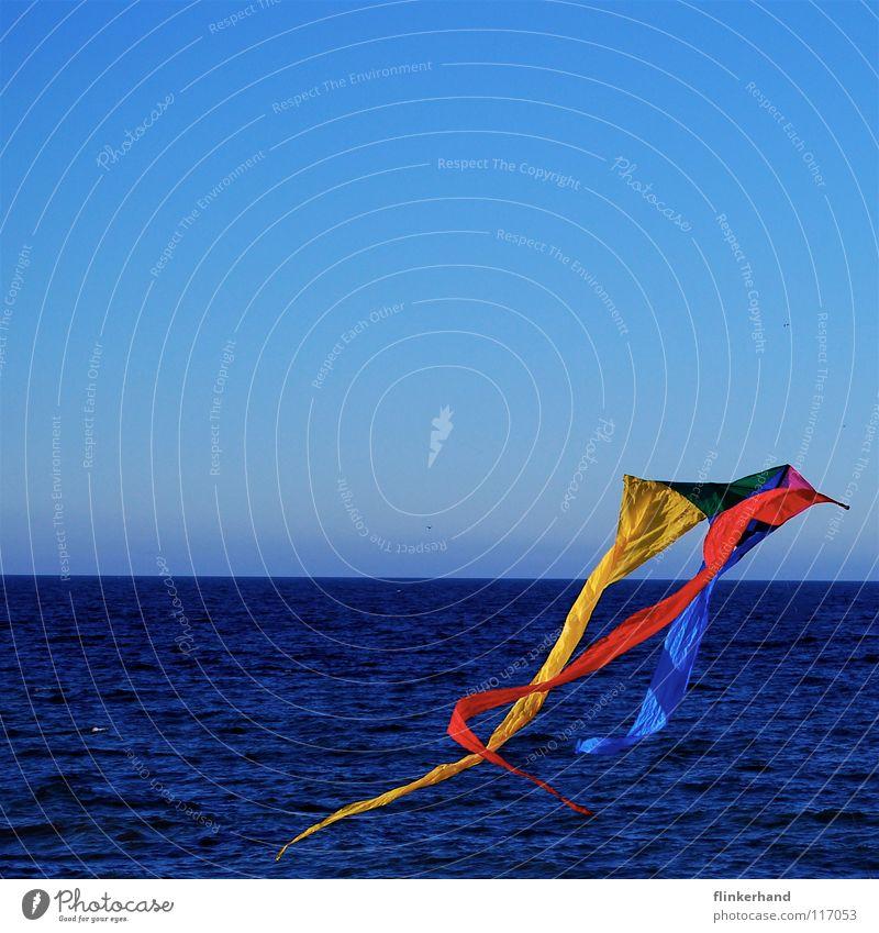 Geh zu ihr und lass deinen Drachen steigen... mehrfarbig aufsteigen rot gelb grün kalt frisch stark Wind tief salzig Meer Horizont See Küste Strand
