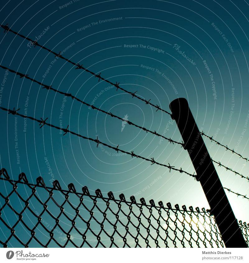 Zaun Barriere Zaunpfahl Maschendraht Stacheldraht Stacheldrahtzaun Maschendrahtzaun Gegenlicht gefährlich Grenze Konzentrationslager gefangen Käfig Krieg