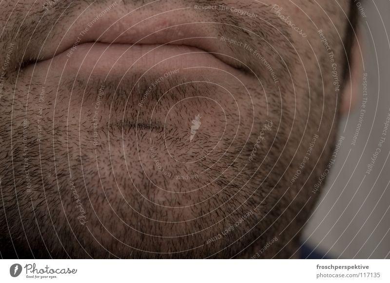 stoppelbaard Mann Traurigkeit Mund Lippen Bart Müdigkeit Erschöpfung Kinn trotzig Rasieren Dreitagebart Barthaare unrasiert