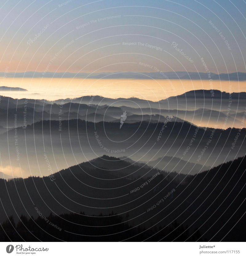 Im Schwabenländle Wolken Schwarzwald Licht träumen Gedanke Ferne schwarz rot Sonnenuntergang Berge u. Gebirge schön Himmel Wolkenmeer Spaziergang Tal Einsamkeit
