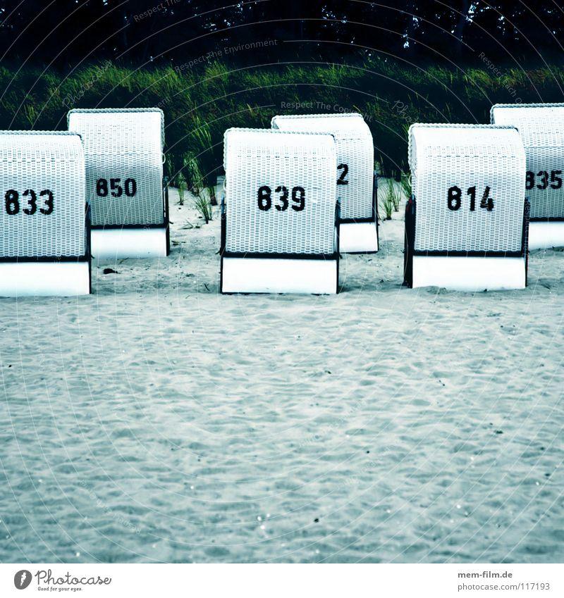 Rücken zur See Meer Strand Strandkorb faulenzen Ferien & Urlaub & Reisen Ostsee Möwe Wellen Herbst Trauer Sehnsucht Saisonende Ende vergangen Unwetter Sandsturm