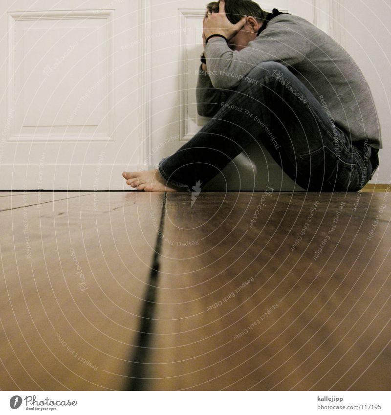 bad hair day Mensch Mann ruhig Haus Erholung Holz Denken träumen Gebäude Zufriedenheit Tür sitzen Wohnung liegen frei Coolness