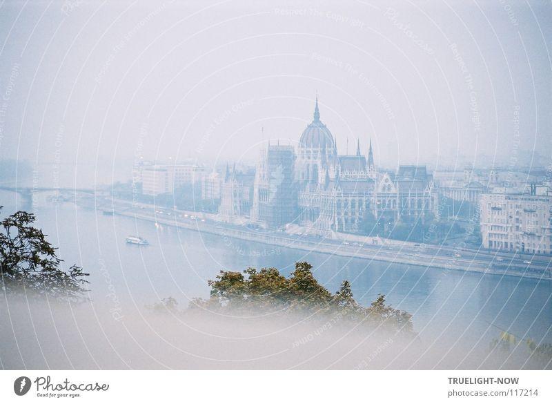 Budapest im Herbstlicht blau grün weiß Wasser Architektur Gebäude rosa Park Nebel Kirche Schönes Wetter Brücke Burg oder Schloss Bauwerk Wolkenloser Himmel
