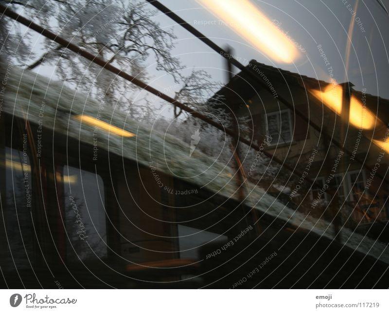 Bahnfahrt die 2. Eisenbahn fahren Winter trist Ödland Schnee Nebel Bahnfahren Licht Reflexion & Spiegelung Beleuchtung kalt Baum Feld ländlich Schweiz grau