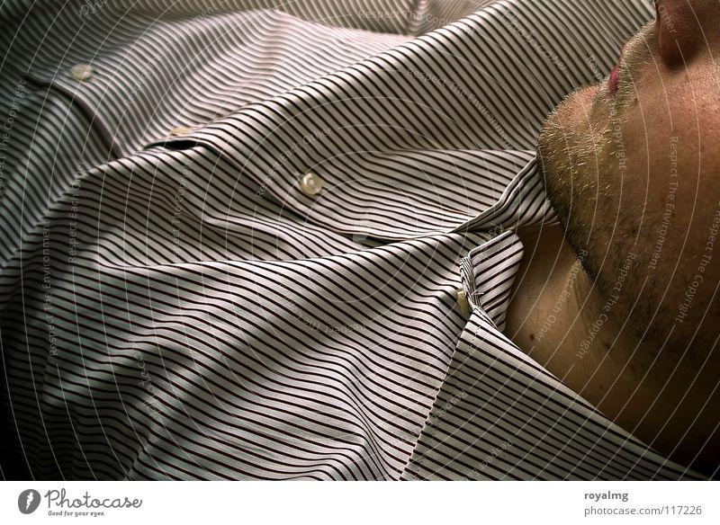come... Mann weiß Gesicht Linie braun glänzend Haut Streifen Stoff Lippen Falte Hemd Bart Knöpfe Kinn