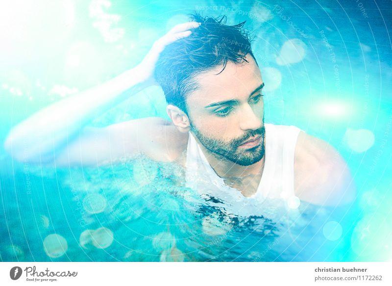 dipping in blue water Mensch Jugendliche nackt Erholung Erotik Junger Mann Freude 18-30 Jahre Erwachsene Leben Schwimmen & Baden Freizeit & Hobby modern