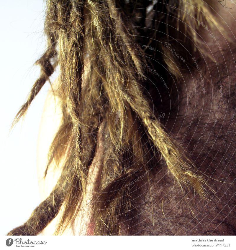 ALLES Mensch Mann dunkel Haare & Frisuren hell Kraft dreckig Haut maskulin bedrohlich lang stark Falte Lichtspiel Nervosität verdeckt