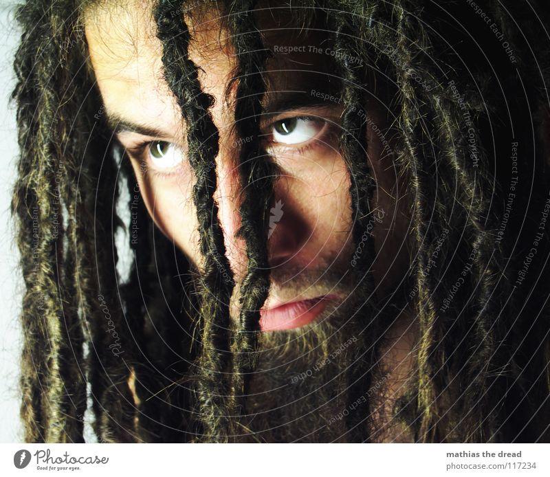 HEUTE Mensch Mann Gesicht Auge dunkel Gefühle Haare & Frisuren hell Kraft Angst Haut maskulin gefährlich bedrohlich Wut lang