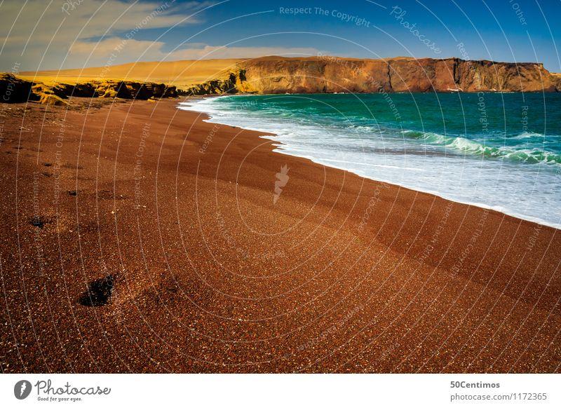 Red beach in Paracas Peru Natur Ferien & Urlaub & Reisen Sommer Sonne Erholung Meer Landschaft ruhig Ferne Strand Umwelt Küste Freiheit Felsen träumen Tourismus
