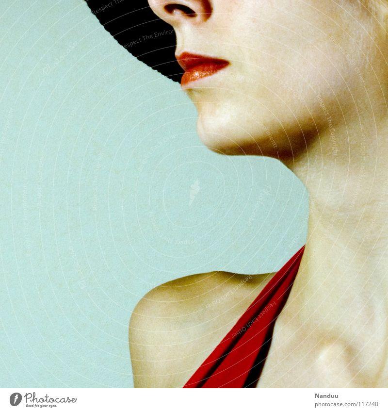 hoch die Nase Frau schön rot feminin Stil Mode hell elegant Haut Erfolg Lippen Freundlichkeit Medien Dame Schulter Puppe