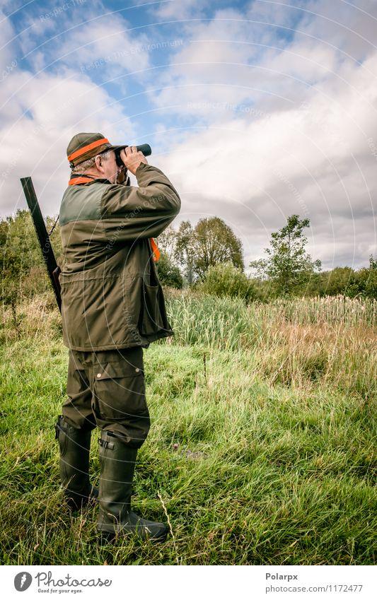 Jäger, der in Binkeln schaut Hund Mensch Natur Mann grün Erholung Landschaft Erwachsene Herbst Sport Freizeit & Hobby wild Aktion stehen beobachten Jahreszeiten