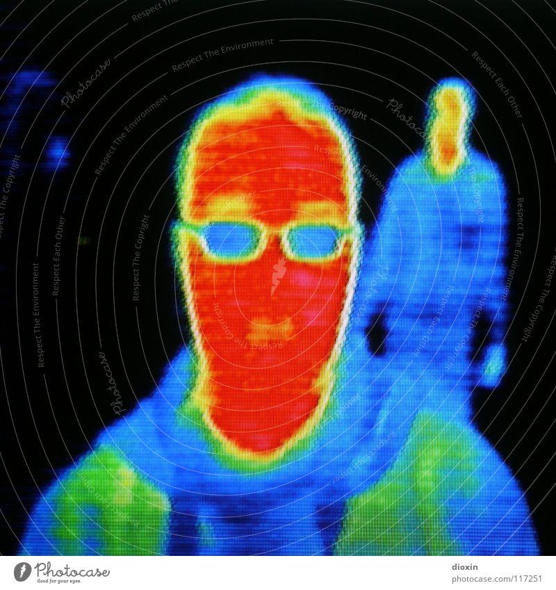 Me & The Heat #1 Mensch Mann grün blau rot schwarz gelb Farbe kalt Kopf Wärme Erwachsene maskulin Energiewirtschaft Zukunft Technik & Technologie