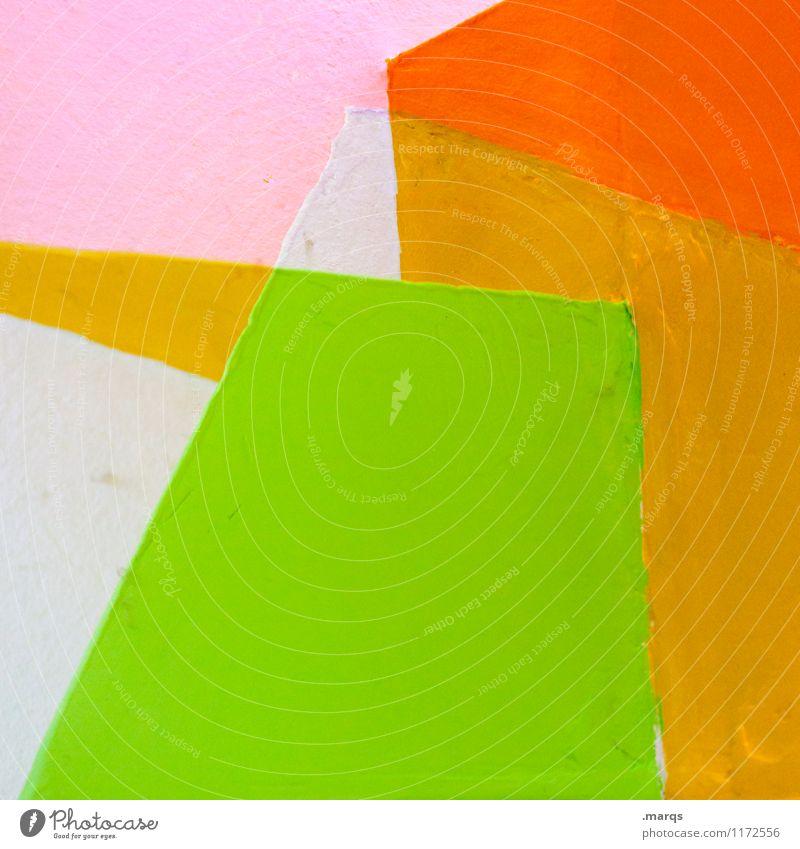 Pale Lifestyle elegant Stil Design Mauer Wand Linie eckig trendy grün orange rosa weiß Hintergrundbild minimalistisch Grafik u. Illustration Farbfoto mehrfarbig