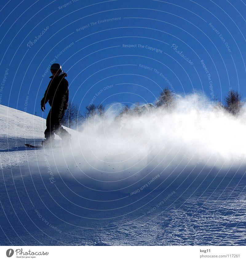 Bremsspuren Himmel Ferien & Urlaub & Reisen blau Winter Schnee Sport springen Freizeit & Hobby Textfreiraum Österreich Blauer Himmel Snowboard Wintersport Verwirbelung Funsport Skipiste