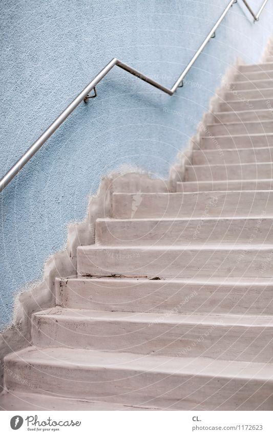 treppe blau Wand Wege & Pfade Mauer grau Treppe Perspektive Ziel Treppengeländer eckig