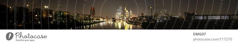 Skyline Mainhattan (Panorama) Lifestyle Nachtleben Stadt Hochhaus Hafen Brücke Erfolg Ferien & Urlaub & Reisen Handel Kommunizieren kompetent komplex Leben