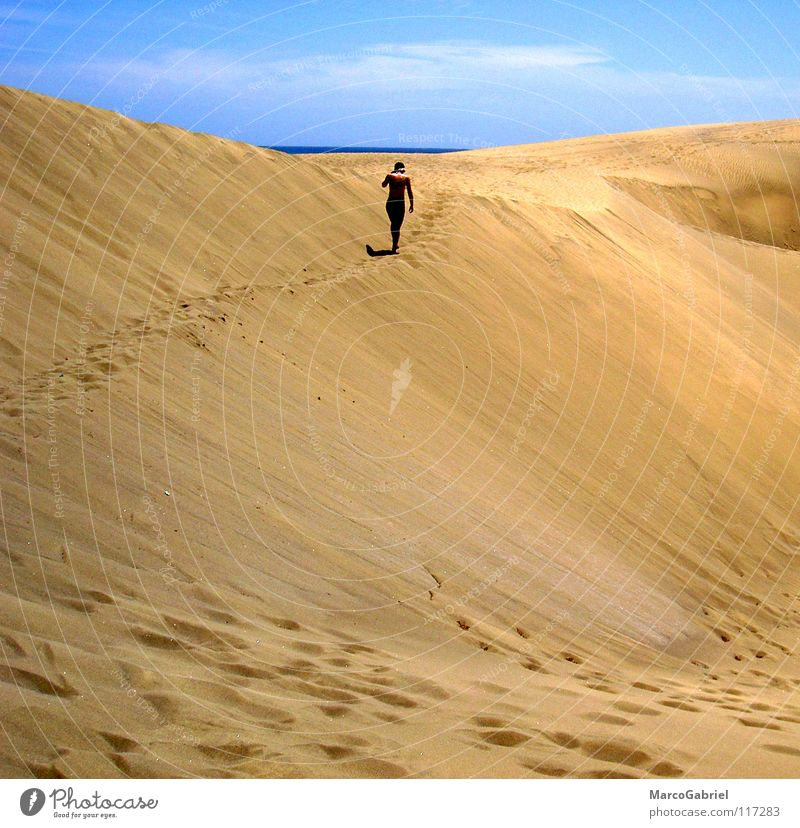 Hinter dem Horizont Meer Ferien & Urlaub & Reisen Sand Erde Ziel Spuren Fußspur Stranddüne Blauer Himmel Erreichen