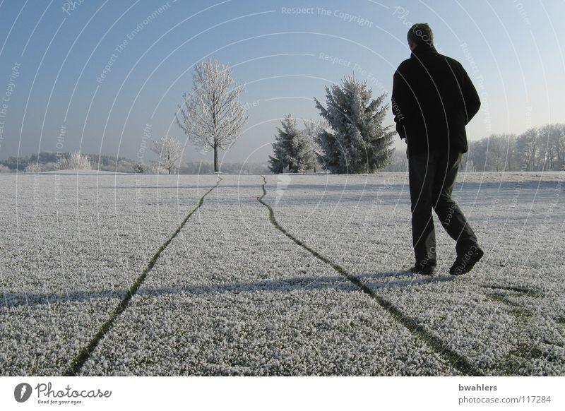 neben der Spur kalt Winter Raureif Einsamkeit weiß Mann schön Baum Ravensburg Strukturen & Formen Schnee Eis Spuren laufen Schatten Landschaft Himmel Frost
