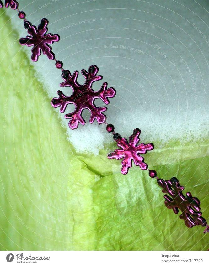 gruen- weiss- rosa grün Winter Dezember verschönern Dekoration & Verzierung Papier Stern (Symbol) Schmuck Schneeflocke Weihnachten & Advent Feste & Feiern