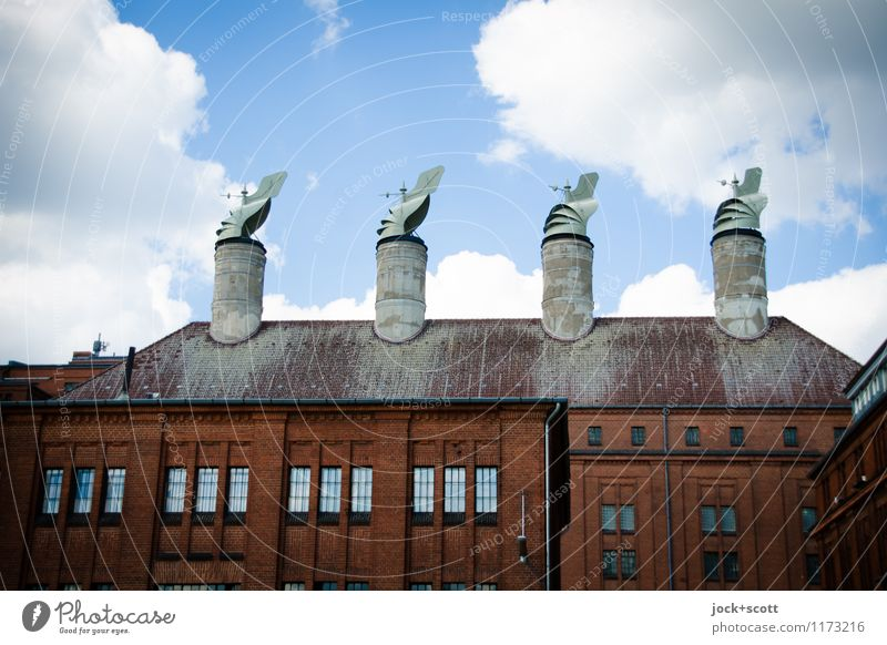 Wind für Schornsteine außergewöhnlich Dach retro planen historisch Fabrik Kontrolle Kunsthandwerk Ordnungsliebe Berlin-Tempelhof