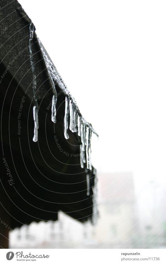 Väterchen Frost lässt grüßen #2 Winter kalt Eis Wassertropfen nass Dach verfallen Eiszapfen Wasserrinne