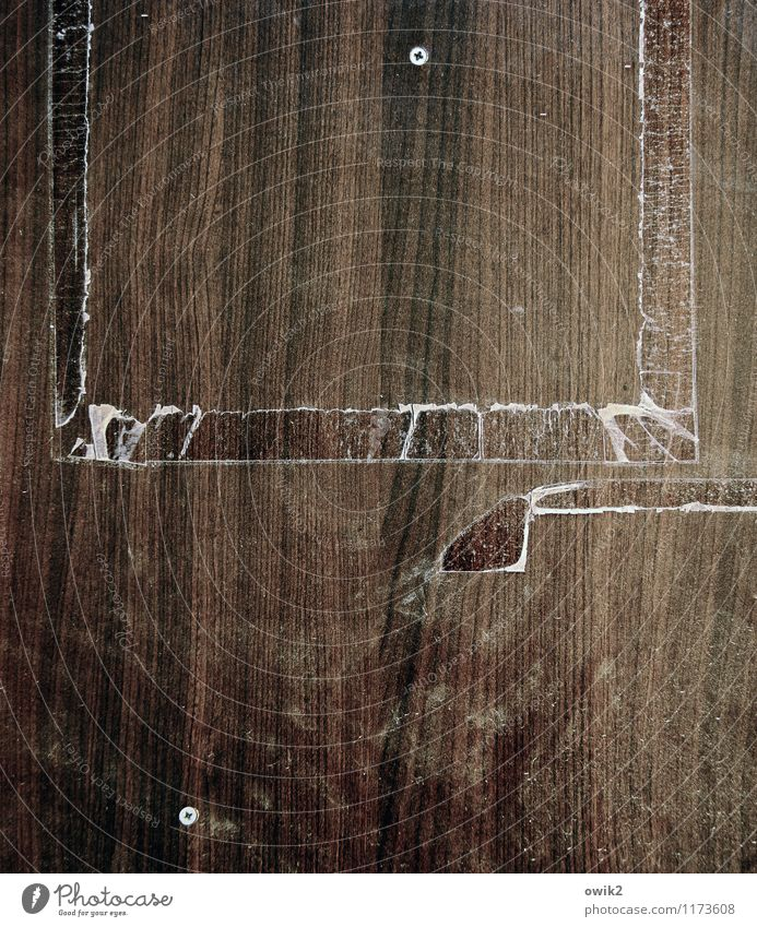 Geschichtsklitterung Kunststoff alt dehydrieren dreckig Verfall Vergangenheit Vergänglichkeit Zerstörung leer Klebeband Rest Maserung Resopal Zahn der Zeit