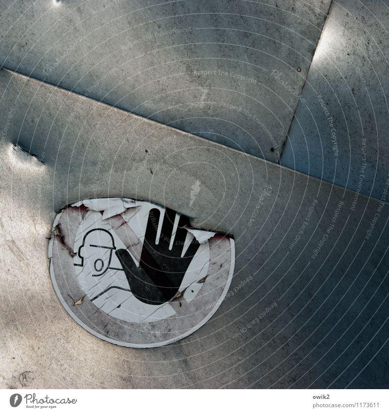 Einsamer Rufer Etikett Warnhinweis Metall Kunststoff Zeichen Schilder & Markierungen Hinweisschild Warnschild alt dreckig glänzend trashig gefährlich Stress