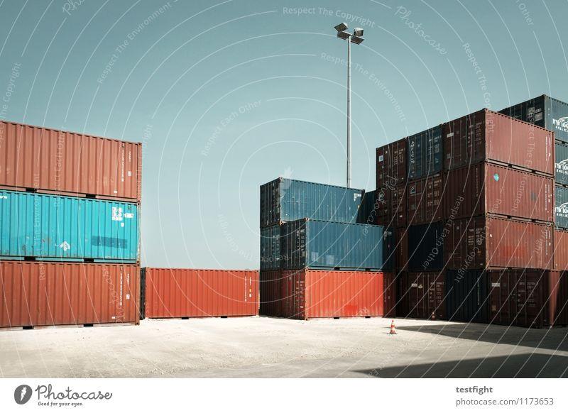 containerbahnhof Arbeitsplatz Wirtschaft Handel Güterverkehr & Logistik Sonne Sommer Container Gesellschaft (Soziologie) kaufen Ware Güteraustausch Farbfoto