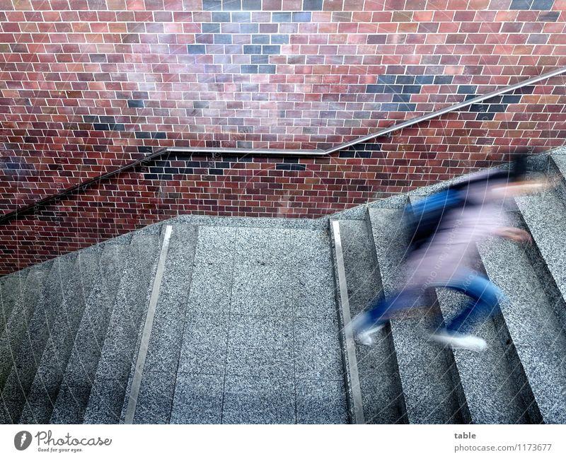 hurry up . . . Mensch Frau Jugendliche Mann Stadt Junge Frau Junger Mann Erwachsene Leben Wand Bewegung Gebäude Mauer grau braun Treppe