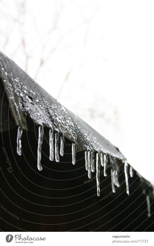 Väterchen Frost lässt grüßen #1 Winter kalt Eis Wassertropfen nass Dach verfallen Eiszapfen Wasserrinne